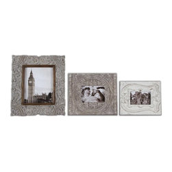"""Uttermost - Uttermost Askan Traditional Picture Frame X-65581 - Carved mango wood with antique white glaze. Holds photos 4"""" x 6"""", 5 x 7"""" and 8"""" x 10"""". Sizes: Small (9"""" x 11"""" x 1""""), Medium (11"""" x 13"""" x 1""""), Large (14"""" x 16"""" x 1"""")."""