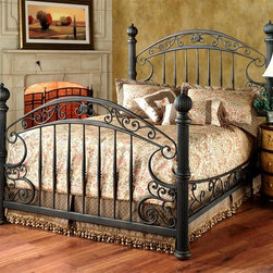 Hillsdale Furniture - Scrolled Metal Bed in Rustic Old Brown with S - Choose Bed Size: QueenIncluded: Headboard, Footboard, Side Rail, and Post Kit. Scrolled side rails. Rustic Old Brown Finish. Queen Headboard: 67 in. W x 66.25 in. H . Queen Footboard: 67 in. W x 43.75 in. H. King Headboard: 83 in. W x 66.25 in. H . Footboard: 83 in. W x 43.75 in. HSubstantial and powerful, the Chesapeake bed combines both delicate scrollwork with imposing posts and finials to create an effect that is both grand and elegant. Featuring a versatile rustic old brown finish and scrolled side rails. The Chesapeake is an eye-catching addition to your home.