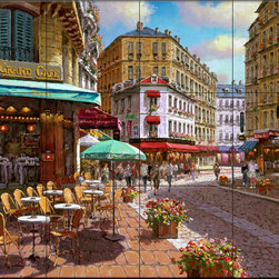 The Tile Mural Store (USA) - Tile Mural - Le Grand Cafe - Kitchen Backsplash Ideas - This beautiful artwork by Sam Park has been digitally reproduced for tiles and depicts a cafe street scene.  This street scene tile mural would be perfect as part of your kitchen backsplash tile project or your tub and shower surround bathroom tile project. Street scenes images on tiles add a unique element to your tiling project and are a great kitchen backsplash idea. Use a street scene tile mural, perhaps a Tuscan theme tile mural, for a wall tile project in any room in your home where you want to add interesting wall tile.