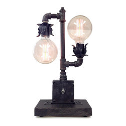 Industrial Lightworks - Industrial Chic Lamp - With Large Globe Edison Bulbs - A stylish rustic table, or desk lamp made from re-purposed steel pipe.
