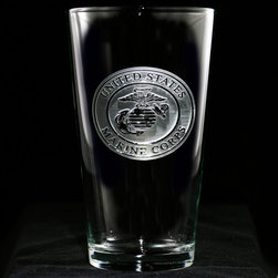 Crystal Imagery, Inc. - Marine Corps Engraved Glass Set, Military Glassware - Engraved marines military pub glasses, pint beer glasses make a wonderful gift for marines. Deeply carved using our sand carving technique, each of our custom pint or pub glasses are meticulously custom made to order making them the perfect gift for those seeking unique gift ideas for beer lovers - men and women alike. At 16 oz, our pub glass will hold plenty of your favorite beverage. A custom engraved pint or pub glass will be the favorite gift at any special gift giving occasion. Personalized or monogrammed pint or pub glasses are a unique and special bridal shower gift, engagement gift, wedding gift or engagement gift. Also great gift idea for girlfriend or wife gifts, boyfriend or husband gifts, retirement gift or birthday for the classy man or woman who has everything. Dishwasher safe. Made in the USA. SOLD AS A SET OF 4.