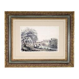 John Richard - John Richard Antique Reproduction Landscape III GRF-3788CKR - Pastoral landscape in soft cool tones. Hand carved wood frame in French blue with gold accents.