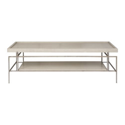 Vaguard - Langley Cocktail Table W417C - Brooklands Gray Finish On Wood, Modern Bronze Finish on Base, Wood Top/Shelf