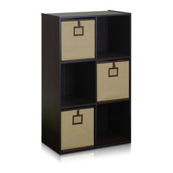 Furinno - Furinno 13093EX Econ 6-Cube Organizer - Furinno Econ 6-Cube Organizer, Espresso is designed to fit in your space, your style and fit on your budget. Additional non-woven bins can be purchased separately with more color options. The unit can be placed vertically or horizontally depending on the space and the need. The Particleboard is manufactured in Malaysia and comply with the green rules of production. There is no foul smell, durable and the material is the most stable amongst the particleboards. The PVC tube is made from recycled plastic and is tested for its durability. The non-woven bin simply add in a sweet accent to the whole unit. A simple attitude towards lifestyle is reflected directly on the design of Furinno Furniture, creating a trend of simply nature. All the products are produced and assembled 100-percent in Malaysia with 95% - 100% recycled materials.