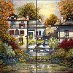 The Tile Mural Store (USA) - Tile Mural - Sb - Village At Doric - Kitchen Backsplash Ideas - This beautiful artwork by Sambataro has been digitally reproduced for tiles and depicts a  small village of homes nestled in a cove.  This garden tile mural would be perfect as part of your kitchen backsplash tile project or your tub and shower surround bathroom tile project. Garden images on tiles add a unique element to your tiling project and are a great kitchen backsplash idea. Use a garden scene tile mural for a wall tile project in any room in your home where you want to add interesting wall tile.