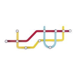 Modern Coated Steel Subway Hooks, Multi-Colored - Next stop-form and function with the Subway Wall Hook by Umbra!