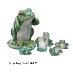 Set of 6 Ceramic Frog Family Figures - This set included a large frog and 5 mini frogs. ( may be variation in the mini frog pose upon availability )