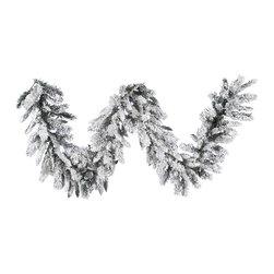 """Vickerman - Flocked Snow Ridge Garland 160T (9' X 16"""") - 9' X 16"""" Flocked Snow Ridge Garland  160 PVC Tips.  Unlit"""