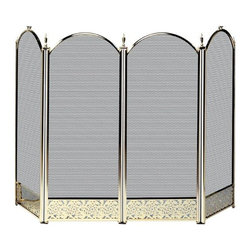 Uniflame - Four Fold Polished Brass Fireplace Screen Wit - Aesthetically pleasing to the eye, this traditional  polished brass fireplace screen is elegant.  This beautiful fireplace screen has a decorative filigree on the bottom border.  Woven mesh combined with durable construction ensures years of excellent use.  Each of the four panels features gentle arches.  The handles on the outside panels allow for easy access to the fire. * Stylish Screen is Functional and Attractive. Maintains Fireplace Safety. Allows For Ease and Comfort with Fireplace Maintenance. 52 in. W x 32 in. H