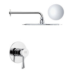 Remer - Round One-Way Shower Faucet Set with Polished Chrome Finish - A three-piece shower set that features a one-way diverter operated by a contemporary style chrome finished handle.