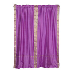 Indian Selections - Pair of Lavender Rod Pocket Sheer Sari Curtains, 43 X 84 In. - Size of each curtain: 43 Inches wide X 84 Inches drop