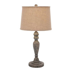 "Benzara - Classic Solid Wooden Table Lamp and Stable Base Design - Classic Solid Wooden Table Lamp and Stable Base Design. Adding a touch of class to the table decor, this fantastic looking table lamp will light up your table area effectively. It comes and following dimensions 7""W x 7""D x 28""H."