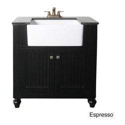 Legion Furniture - Granite Top 30-inch Farmhouse Apron Style Single-sink Bathroom Vanity - Add a fresh look to your bathroom decor with the country-style Farmhouse single-sink vanity. This vanity also offers a gorgeous black granite top,a two-door design and includes an apron-style ceramic sink.