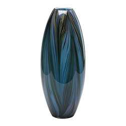 Cyan Design - Cyan Design Peacock Feather Vase X-02920 - Fluid curvature and sleek lines create an almost feather-like texture that adorns the body of this Cyan Design vase. This peacock feather vase features glass construction and a multi colored palette, with shades of olive, near black, teal and turquoise.