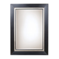 Uttermost - Uttermost Whitmore Black Wood Mirror 13131 B - This solid wood frame features a smooth, matte black finish. The frame is accented by a silver leaf bead and rim. A black fillet highlights the edge of the beveled mirror. May be hung either horizontal or vertical.