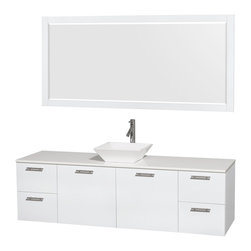 """Wyndham Collection - Amare 72"""" Vanity, White Stone, Pyra White Sink, 70"""" - Modern clean lines and a truly elegant design aesthetic meet affordability in the Wyndham Collection Amare Vanity. Available with green glass, acrylic resin or pure white man-made stone counters, and featuring soft close door hinges and drawer glides, you'll never hear a noisy door again! Meticulously finished with brushed chrome hardware, the attention to detail on this elegant contemporary vanity is unrivalled."""