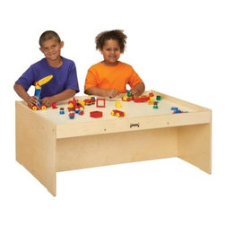Jonti-Craft Kydz Activity Table - Great for train sets and building with blocks the Jonti-Craft Kydz Activity Table will encourage your kids to be creative. As they stand or kneel beside this generously sized table they'll have easy access to all sides as they engage in connective activities. A 1.5-inch lip around the perimeter of the table keeps pieces on the table and off the floor. If your child gets frustrated when trying to get toys to stand up or stay connected on the carpet this smooth tabletop surface is your solution. Several features make this children's activity table especially safe and durable. KYDZSafe edges ensure that all edges - front back and base - are fully rounded. The KYDZTuff construction employs the dowel-pin technique which leaves the thickness of the material intact where most of the stress occurs. Recessed backs enhance both strength and appearance. The KYDZTuff finish resists stains won't yellow cleans easily and is as tough as the coating used on gym floors. Five-year manufacturer's warranty. About Jonti-CraftFamily-owned and -operated out of Wabasso Minn. Jonti-Craft is a leading provider of quality furniture for the early learning market. It offers a wide selection of creatively designed products in both wood and laminate materials. Its products are packed with features that make them safe functional and affordable. Jonti-Craft products are built using the strongest construction techniques available to ensure that your furniture purchase will last a lifetime.