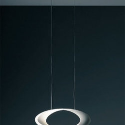 """Artemide - Artemide Cabildo pendant light - The Cabildo pendant light from Artemide has been designed by Eric Sole in 2008. This suspension mounted luminaire is great for indirect and diffused halogen lighting. The Cabildo is composed of a body structure in die-cast aluminum in a white painted finish. The specular aluminum reflector and lamp are concealed in the inner curve of the structure and the lamp is shielded by a frosted glass guard The canopy is in white thermosplastic with clear electrical cords and a stainless steel cable.   Product Details:  The Cabildo pendant light from Artemide has been designed by Eric Sole in 2008. This suspension mounted luminaire is great for indirect and diffused halogen lighting. The Cabildo is composed of a body structure in die-cast aluminum in a white painted finish. The specular aluminum reflector and lamp are concealed in the inner curve of the structure and the lamp is shielded by a frosted glass guard The canopy is in white thermosplastic with clear electrical cords and a stainless steel cable.   Details:       Manufacturer:     Artemide      Designer:    Eric Sole      Made in:    Italy      Dimensions:     Height: max 59 1/16"""" (150 cm) Width: 16 1/8"""" (41 cm)      Light bulb:     1 X 300W halogen       Material:     Aluminum, Glass, Thermoplastic, Stainless steel"""