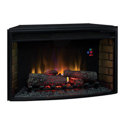 "Dimplex - ClassicFlame 32-in SpectraFire Curved Electric Fireplace Insert - 32EF023GRA - The Classic Flame 32"" Electric Firebox 32EF023GRA features a curved front. This insert can be operated with or without heat for year-round use and plugs into a standard household outlet. Features of the 32EF023GRA include digital thermostat, on screen function indicator, multi-function remote control, 6 flame brightness settings, and timer. Also included is a 1 year manufacturer's warranty."