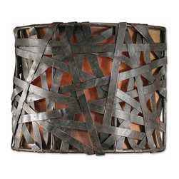 Uttermost - Uttermost Alita Wall Sconce in Aged Black - Shown in picture: Aged Black Metal With Rust Accents And A Silken Bronze Textile. Aged black metal with rust accents.