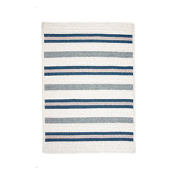 Colonial Mills, Inc. - Allure, Polo Blue Rug, Sample Swatch - Sleek stripes in softly heathered colors bring the fashionable comfort of your favorite polo shirt to your floors. Woven from polypropylene and wool, this rug is reversible and features squared corners for a modern update to the traditional braided construction.