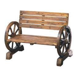 n/a - Wagon Wheel Bench - Laze in the shade after a long day; this rustic bench is right at home on patio, porch or lawn.  Sturdy love seat has ample seating for two, with quaint wagon wheel armrests at either end.  Wood.  Some assembly required.