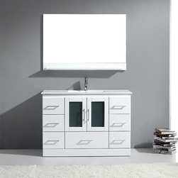 VIRTU - Zola 48-inch White Single Sink Vanity - Clean,sleek lines and a slick chrome faucet give the Zola vanity definitive style. Multiple storage drawers and cabinet augment the clean look of this solid oak set.