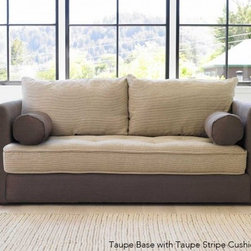 """Viva Terra - Eco Sofa - Solid Gray - We spent five years looking for a sofa that combined comfort, practical styling and eco-friendliness. Our search came to a satisfying end when we kicked back on this all-green, all-purpose rare find. First, the eco lowdown: Our manufacturer uses only certified sustainable wood frames and water-based wood finishes, recycled fiber filling in the pillows, and soy-based filling in the cushions. Organic cotton ticking with tufted buttons framed by linen - materials that are as durable as they are mindful - cover our sofa.Next, the comfort factor: We sat, we stretched and we were conquered - this is the curl-up sofa of all times. The frames are made from select kiln-dried hardwoods. Joints are double-doweled, and every corner is blocked, screwed and glued so that there are no creaks or sags.And the coup de grâce: The cushion of our sofa is the size of a twin mattress - remove the back pillows and sweet dreams are guaranteed.Made in USA. Please allow up to 8 weeks for delivery. 83""""W x 42""""D x 32""""H. Note: see special shipping info."""
