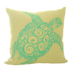 Hand Stenciled Sea Turtle Pillow Cover -