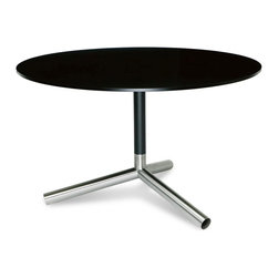 Blu Dot - Blu Dot Sprout Dining Table, Black - Pure color and brushed stainless steel play well together. Satin finish tops and stems in your choice of yellow, ivory or black. Color peeks through the legs for a flirtatious touch.Lacquer on engineered wood substrate with satin finish, Brushed stainless steel base