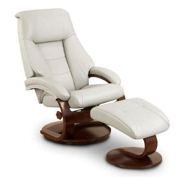 """MAC MOTION CHAIRS - Oslo Collection Putty Grey Top Grain Leather Swivel Recliner w/ Ottoman - Norwegian styling never had it so good, with this unique 2 pc matching chair and ottoman, from the """"Oslo Collection"""". Nested within the strong selective hardwood frame with a rich """"Walnut"""" wood frame finish, to match its accented ottoman, this is the winner! Offering a pillow top back rest along each side of the back cushion, along with an angled headrest and """"MX-2"""" memory foam throughout, makes for a therapy comfort, support and styling. All within a standard seating are this models overall width of only 30"""", and fits very comfortably within most home areas. Features include 360 degree swivel, multiple adjustment for personalized reclining positions and matching angled ottoman. Both pieces are covered in """"Top-Grain"""" leather, everywhere you touch. This """"Putty"""" leather color is complimented by the deep """"Alpine"""" wood frame finish, of the quality euro style frame."""
