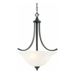 DHI-Corp - Juneau 3-Light Energy Star Pendant, Oil Rubbed Bronze - The Design House 515825 Juneau 3-Light Energy Star Pendant is made of formed steel, frosted glass and finished in oil rubbed bronze to provide a soft, warm glow. This pendant's versatile design is applicable for high or low ceilings. As a laid-back alternative to a chandelier, this fixture maintains a sophisticated appeal while delivering indirect light with a pleasing aesthetic. Energy Star qualified, this 3-light island pendant is rated for 120-volts and uses (3) 13-watt GU24 compact fluorescent lamps. This fixture's flowing arms create a clean, contemporary profile that matches traditional or modern furnishings. Measuring 24-inches (H) by 18.5-inches (W), this 6.57-pound pendant comes with a 48-inch chain that converts this ceiling mounted light to an elegant pendant. Energy Star products meet strict energy efficiency guidelines set by the U.S. Environmental Protection Agency and the U.S. Department of Energy to maintain a greener home. This product is UL and cUL listed and adheres to industry standards for safety and quality assurance. The Juneau collection features a beautiful matching chandelier, vanity light, wall sconce, wall mount and mini pendant. The Design House 515825 Juneau 3-Light Energy Star Pendant comes with a 2-year limited warranty that protects against defects in materials and workmanship. Design House offers products in multiple home decor categories including lighting, ceiling fans, hardware and plumbing products. With years of hands-on experience, Design House understands every aspect of the home decor industry, and devotes itself to providing quality products across the home decor spectrum. Providing value to their customers, Design House uses industry leading merchandising solutions and innovative programs. Design House is committed to providing high quality products for your home improvement projects.