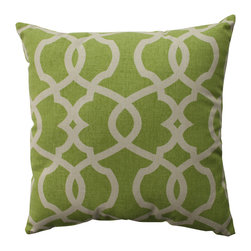 Pillow Perfect - Pillow Perfect Lattice Damask Leaf 16.5-inch Throw Pillow - Adding an eye-catching touch to your otherwise drab sofa will be easy with this stylish throw pillow. The pillow features a bold green color and beige damask print creates a contemporary look that is sure to add a contemporary feel to any room.