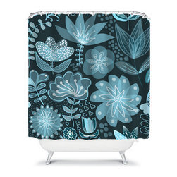 Shower Curtain Flower Navy Aqua 71x74 Bathroom Decor Made in the USA - DETAILS:
