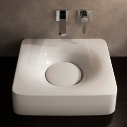 Nameeks - Nameeks | Fuji Wall Mounted or Vessel Sink 6001 - Made in Italy. A part of Scarabeo by Nameek's.The curved form of the Fuji Wall Mounted or Vessel Sink 6001 adds a functional statement piece in modern bathrooms. This versatile sink can be installed either on top of the counter as a vessel sink, or mounted from the wall with the included hardware. Product Features: