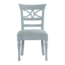 Stanley-Coastal Living - Sea Watch Side Chair - Create a dining room that you can be proud of with this unique dining Sea Watch Side Chair from Stanley Coastal Living. The gorgeous cutout back and gently tapered legs create a distinctive coastal-cottage look that will instantly add chic style to your dining space. Seaworthy blue and green stripes cover the Super Comfort upholstered seat, while a painted periwinkle finish coats the solid hardwood frame. This unique chair is perfect for everyday use in your kitchen or formal dining room.