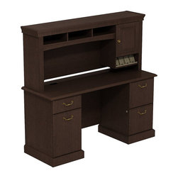 "Bush - Bush Syndicate 60"" Double Pedestal Desk with Hutch in Mocha Cherry - Bush - Computer Desks - SYN011MR - Syndicate fits comfortably in traditionally styled work environments no matter where they may be. Combining classic design elements its small footprints are appropriately scaled for serious home offices. Bush Syndicate Series Mocha Cherry 60""W x 22""D Double Pedestal Desk with Overhead keep you in charge in style. Right-sized Double Pedestal 60""W Desk offers ample work surface and storage. Includes two box drawers for supplies plus one file drawer for letter- legal- or A4-size files on left and two file drawers on right pedestal. Fully extendable drawers on ball bearing slides allow easy access to back. Solid sturdy 1""-thick work surface looks good for years resists stains and scratches. Integrated 4-port USB hub in Desk surfaces connects electronic devices to laptops or PCs. 60""W Overhead scoops up desk clutter. Integrated open-and-closed storage cabinet has one raised panel door plus cubbies and cubicles hold work in progress. Convenient angled shelf makes charging electronic devices neat and contained. Multiple storage options improve work process organization. Desktop and Overhead wire management grommets provide easy access to cords and cables. Includes Bush 10-year warranty."