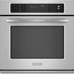 "KitchenAid Architect Series 30"" Single Electric Wall Oven - Thermal oven with two-element balanced baking and roasting provides even baking and roasting. True-Broil™ reflector concentrates heat, providing consistent and efficient broiling. Closed-door broil with full and center settings provides high-speed, adjustable broiling for large or small quantities"