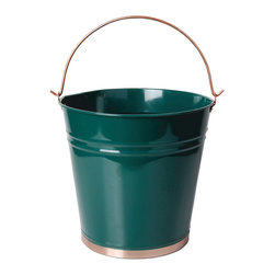 Esschert Design - Green Pail - Dark Green Metal Pail with Handle