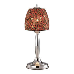 Lite Source - Lite Source Musoke Contemporary Table Lamp XSL-SOM/DER58402 - The beautiful blend of modern and classic elements creates a rich, regal look to this Lite Source contemporary table lamp. From the Musoke Collection, the red mosaic glass patterned shade adds a flush of color while the turned details of the base are complimented by a clean Chrome hue.