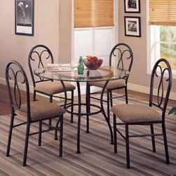 "Coaster - Adelia Collection Odelia 5Pc Dining Set - The Odelia 5pc dining set has a clear glass top with a metal base, and matching upholstered rounded side chairs.; Traditional Style; Adelia Collection; Some assembly required.; Dimensions: Table: 42"" dia x 30""H; Chair: 22""L x 17""W x 37.5""H"