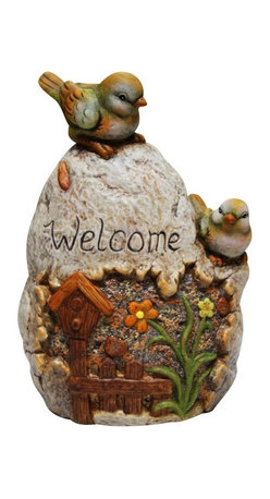 Alpine - Welcome Sign Rock with Bird Garden Statue - Add a fun look to your landscape with these delightful garden statuaries. You can group them in your walkway, garden and pond or use individually around your deck or patio. These unique figures are made with the precision of fine detailed craftsmanship to make a one of a kind product.Features: