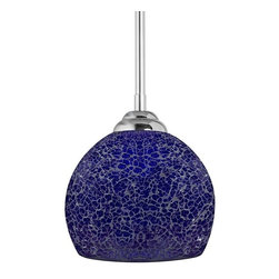 Linea di Liara - Nicola Medium Round One-Light Stem Hung Pendant Lamp, Ultra Cobalt Blue - Dazzling crackled glass and sparkling illumination define the pendants of the Nicola Collection. Handmade art glass and sleek chrome make Nicola pendants the centerpiece of any room. The Nicola Collection is available in a variety of styles and in 3 finishes - Ultra Cobalt Blue, Shimmering Smoke and Lustrous Pearl.