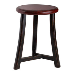 Antique Revival - Red Gable Three Legged Stool - This three-legged, round-topped stool is great for both reaching high shelves and providing extra seating for guests. The unique design includes black legs and a round, red top with lightly distressed edges.