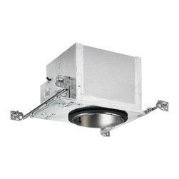 Juno Lighting Group - 6-Inch New Construction Fluorescent Can - ICPL632E - This fully-sealed double wall housing is efficient and does not require a separate gasket. It can be completely covered with insulation and the Air-Loc design stops infiltration and exfiltration of air, reducing heating and cooling costs. Vertically adjustable to accommodate up to a 1-inch ceiling thickness and fully assembled. Bar hangers may be re-positioned 90 degrees and patented break-away bars allow tight joist spacing. 7-1/2-inches high with a 6-7/8 ceiling cutout. Measures 17-1/4 inches in length with a 13-1/2-inch width that expands to 25 inches. Trim sold separately. Takes (1) -watt Compact Fluorescent bulb(s). Bulb(s) sold separately. Dry location rated.