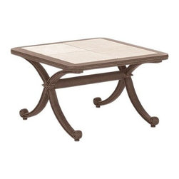 Landgrave - Landgrave Maximus Cast Aluminum 24 x 36 Rectangular Cast Tile Top End Table - Woodard-Landgrave offers traditional and classical styles in lighter weight durable cast aluminum. Using the highest grade ingots Woodard-Landgrave cast aluminum patio furniture possesses an excellent balance of Resilience and design.  Landgrave's patio furniture collections are generally evocative of classic European designs. With collections inspired by the grandeur of the French Greek and Roman empires Landgrave furniture adds a level of sophistication to your patio. Features include Beautiful and elegant cast aluminum material Extremely durable high quality material cast aluminum is a long term investment into your patio furniture Suitable for any outdoor use Available in various finishes Rectangular shape Stone table top.