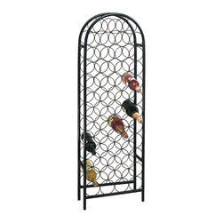 Old Dutch International - 47 Bottle Matte Black Classic Arch Wine Rack - Designed to hold 47 bottles, this rack ensures that you'll never wine alone. The freestanding piece has a graceful, simple style that will sit quietly in the background.