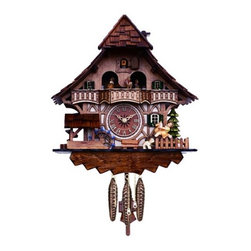 River City Cuckoo Clocks - One Day Musical Black Forest Cuckoo Clock with Dancers, Waterwheel and Girl on R - This chalet style German cuckoo clock features wooden hands, a wood dial with Roman numerals, and a warm light yellow hand-painted and hand-carved cuckoo bird.  On every hour and half-hour the girl rocks back and forth on her rocking horse and the waterwheel turns.  The dancers revolve on their platform every hour and half-hour.  This clock also plays music on the hour & half-hour alternating between two different twenty-two note melodies: Edelweiss & The Happy Wanderer.  Three cast iron pine cone weights are suspended beneath the clock case by three separate brass chains.  -The hand-carved pendulum continously swings back and forth which controls the timing of the clock.   -If your cuckoo clock's timing should ever need adjustment, you can control the speed of your clock by sliding the shield up or down the pendulum stick. Sliding the shield down causes the cuckoo clock to run slightly slower, while sliding the shield up makes the cuckoo clock run slightly faster.  -On every hour the cuckoo bird emerges from a swinging door above the clock dial and counts the hour by cuckooing once per hour. (Example: At one o'clock the bird will cuckoo once. At eight o'clock the bird will cuckoo eight times) The half hour is announced with one cuckoo call.   There is a sound shut-off device beneath the base of the cuckoo clock.  Pushing the lever up disables the cuckoo birds cuckoo and the music.  Pulling the lever down enables the cuckoo clock to play the music and cuckoo call.  -The 30 hour all brass mechanical Regula movement, which is produced in the Black Forest of Germany, is wound once per day by raising the three pine cone weights. One weight powers the time, one weight powers the music, and the other weight powers the cuckoo bird and cuckoo call.  -Great effort has been made to portray each cuckoo clock as accurately as possible. As with many handmade items, the e