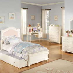 Acme Furniture - Zoe White Twin Bed with Solid Pink Panel Headboard - 11035WT - Zoe Collection Twin Bed