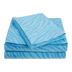 "Microfiber Animal Print Sheet Set, Light Blue, California King - These Microfiber Sheets offer an affordable alternative to high thread count Egyptian Cotton sheets. Microfibers are 100 times thinner than a strand of hair making the weave impenetrable to allergens and dust mites. This Sheet set features a lively circle pattern to brighten up your bedroom. Set includes: (1) Flat 102x108"", (1) Fitted 72x84"", and (2) Pillowcases 20x40""."